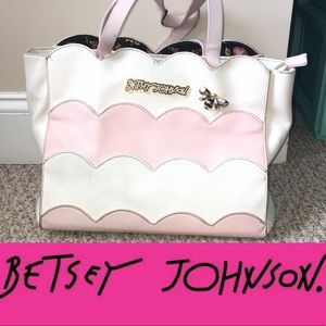 Betsey Johnson pink and white satchel